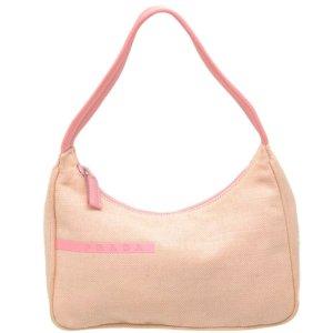 Prada Sac porté épaule rosé fibre textile