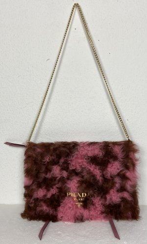 Prada, Shoulderbag/Clutch, Sheepskin, Begonia/Cammello, neu, € 1.500,-