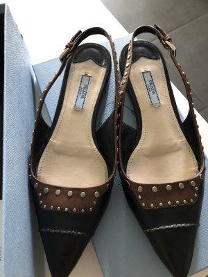 Prada Bailarinas sin talón negro-marrón Cuero