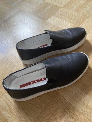 Prada Slip-on Sneakers black-white leather