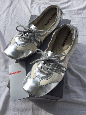 Prada Sneaker Leder weiß Silber, Neu