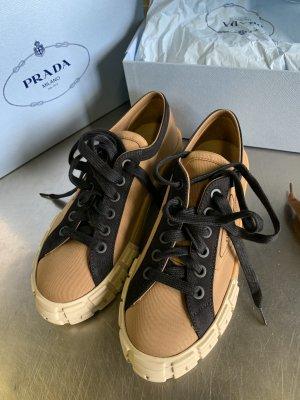 Prada Lace-Up Sneaker black-bronze-colored linen