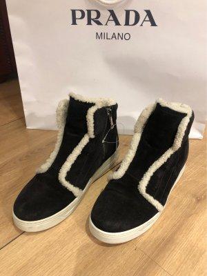 PRADA Sneaker Linea Rossa / schwarz weiß / 36.5