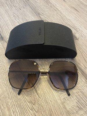 Prada Angular Shaped Sunglasses brown-gold-colored