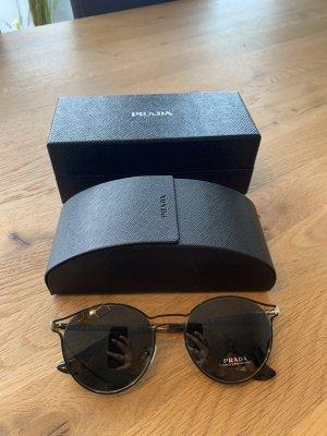 Prada Gafas de sol redondas negro-marrón arena metal