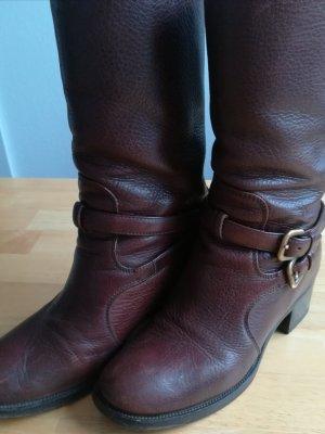 PRADA Stiefel aus Leder, Gr. 38,5, braun/Caffe, 30 cm hoch, top Zustand
