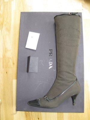 Prada Stiefel Braun Schwarz Jacquard 36,5 Schuhe