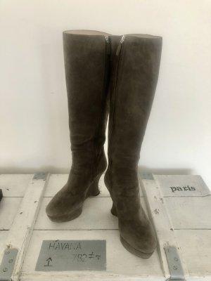 Prada Platform Boots grey leather