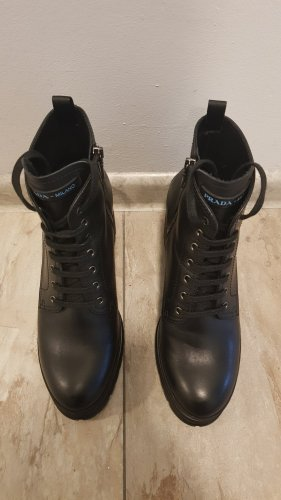 Prada Lace-up Booties black leather