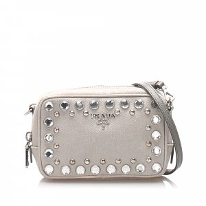 Prada Studded Denim Crossbody Bag