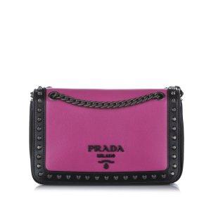 Prada Studded Glace Calf Leather Crossbody Bag