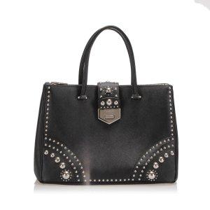 Prada Studded Saffiano Double Zip Tote Bag
