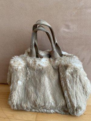 Prada Handbag oatmeal-grey brown fur