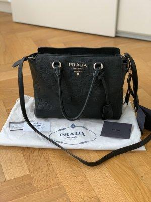 Prada Borsa shopper nero-argento Pelle