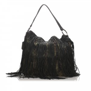 Prada Tessuto Fringe Shoulder Bag