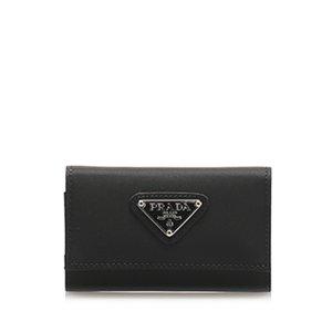 Prada Étui porte-clés noir nylon