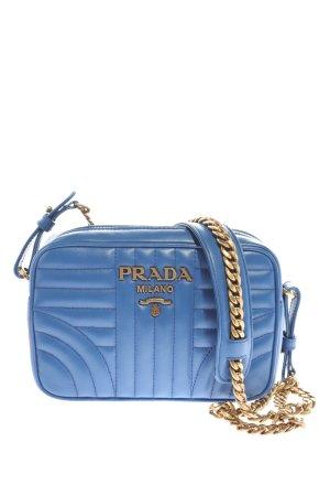 Prada Gekruiste tas blauw-goud quilten patroon elegant