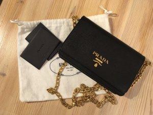 Prada Umhängetasche Original Portmonnaie schwarz gold Umhängekette