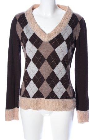 Prada V-Ausschnitt-Pullover Karomuster Casual-Look