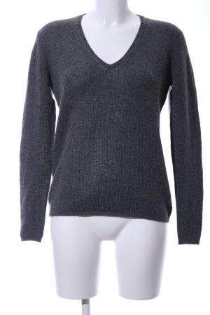 Prada V-Ausschnitt-Pullover hellgrau meliert Business-Look