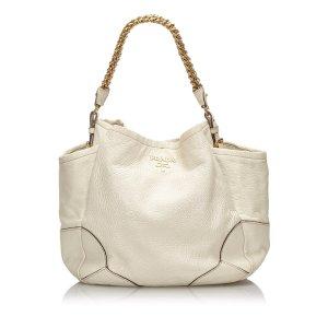 Prada Bolsa de hombro blanco Cuero