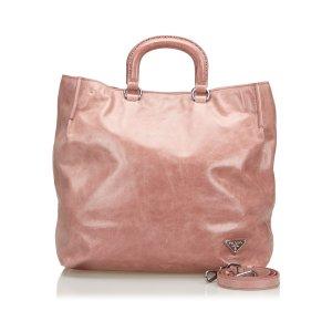 Prada Bolso de compra rosa Cuero