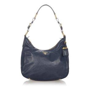 Prada Shoulder Bag dark blue leather