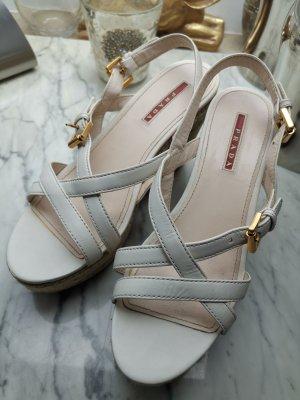 Prada Wedges heels weiss Leder 37