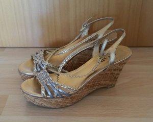 Prada Sandalias tipo cuña color plata-color oro