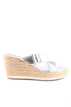 Prada Wedges Sandaletten silberfarben-braun Casual-Look