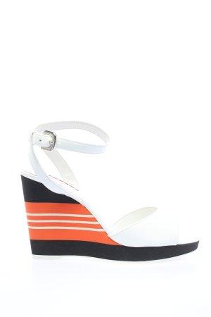 Prada Wedges Sandaletten Streifenmuster Casual-Look