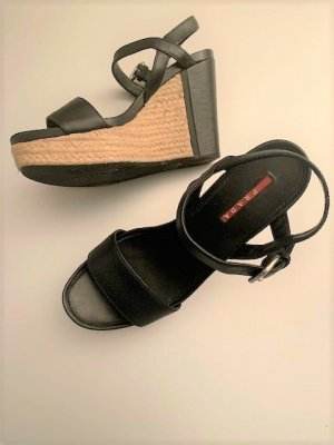 Prada Sandalo con plateau nero Pelle