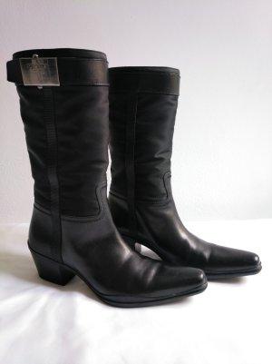 Prada Botas estilo vaquero negro Cuero