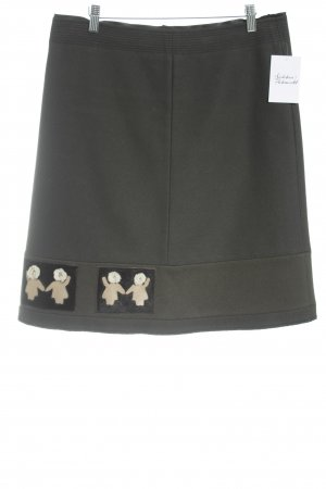 Prada Wollrock khaki abstraktes Muster extravaganter Stil