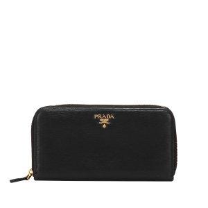 Prada Zip Around Leather Long Wallet