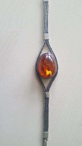 Silver Bracelet light grey-cognac-coloured