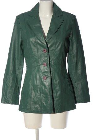prague Manteau en cuir vert style décontracté