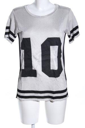 Prani T-Shirt hellgrau-schwarz Schriftzug gedruckt Casual-Look