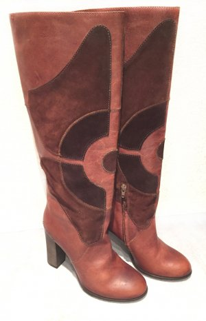 Preissenkung! Neue Stiefel von Miss Sixty, Gr. 38, rostbraun, Leder, ausfallenes Muster