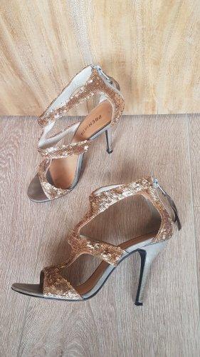 PREMIATA gladiator sandalen high heels pailetten gold gr.37.5