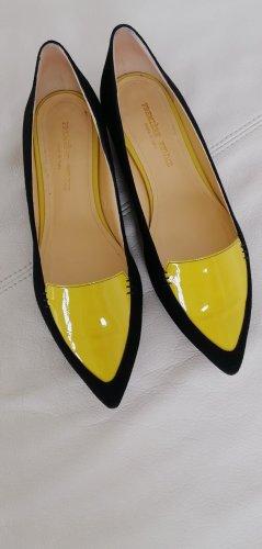 premiere femme Ballerines en cuir verni noir-jaune