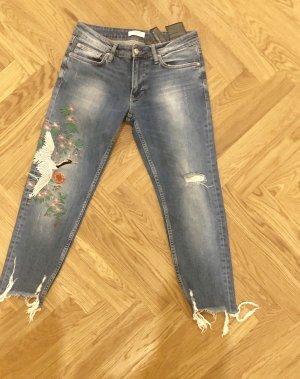 Zara Woman Jeansy 7/8 błękitny