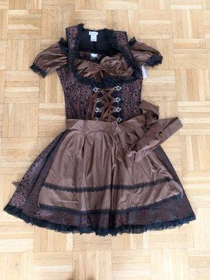 Premium Dirndl - inkl. Bluse - Brown/Black - Größe S 34/36 - Edel!