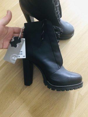 H&M Premium Botas de tobillo negro-gris claro