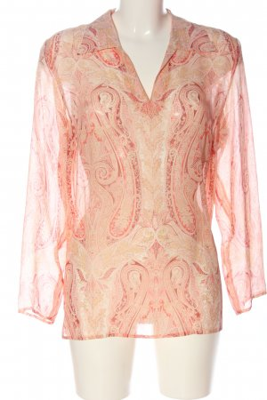 Prestige Camicetta a maniche lunghe crema-rosa stampa integrale elegante