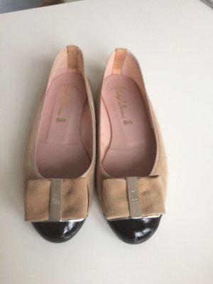 Pretty Ballerina Ballerinas Gr 37,5 beige schwarz Schleife wie neu