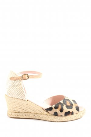 Pretty ballerinas Wedges Sandaletten wollweiß-schwarz Animalmuster Casual-Look