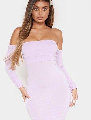 Pretty Little Thing - Bardot Bodycon Kleid mit Straußenfeder-Trimming Fliederfarben (ungetragen)