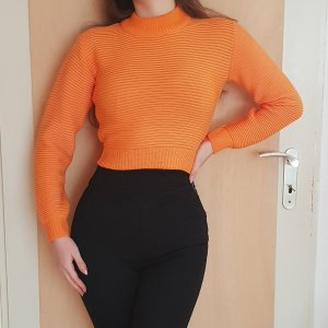 Pretty Little Thing Crop Sweater Pullover Orange