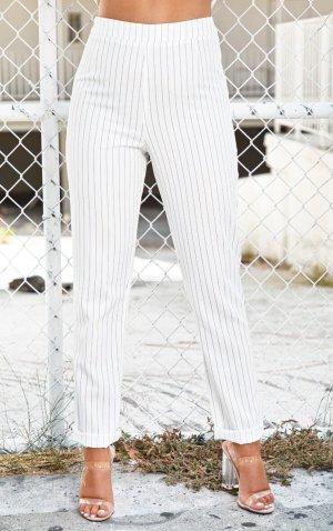 Pretty Little Thing Pantalone a vita alta bianco-nero